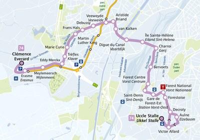 Plan de la ligne Bus 74